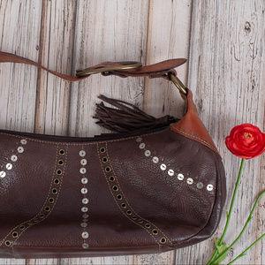 Fossil Bags - FOSSIL Brown Leather Hobo Handbag